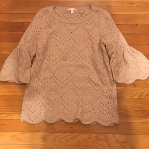 LC Lauren Conrad pointelle sweater w/ bell sleeve
